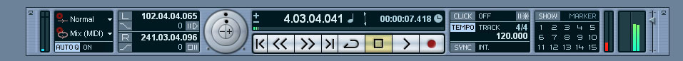 The red bar shows MIDI activity and the green bar shows audio activity.