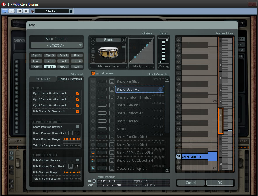 Select a drum on the left, and drag a sound from the middle onto the keyboard on the right.